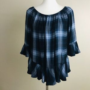 Beach Lunch Lounge Top Off The Shoulder Blue Plaid